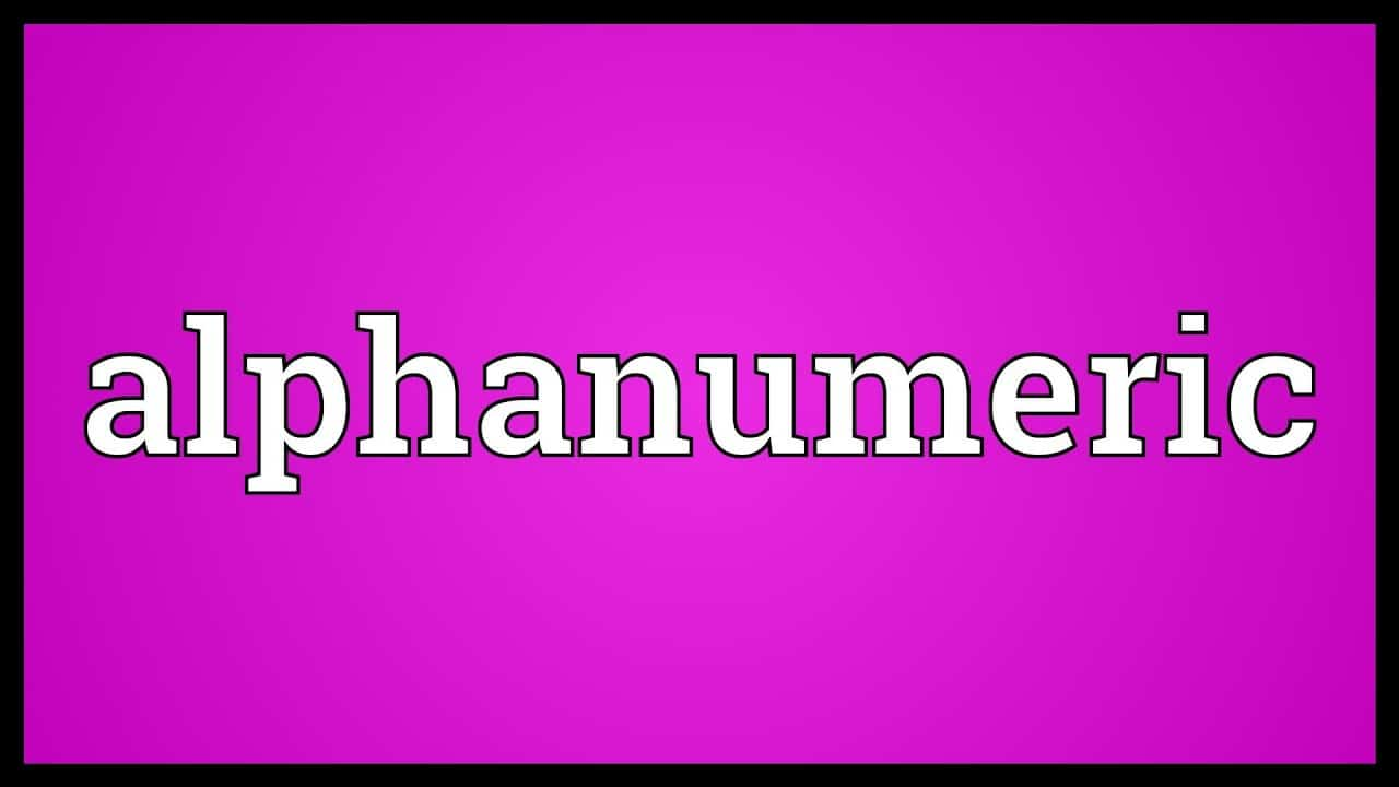 Alphanumeric Character