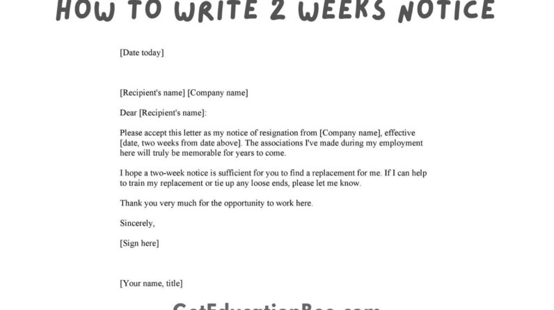 how to write 2 weeks notice